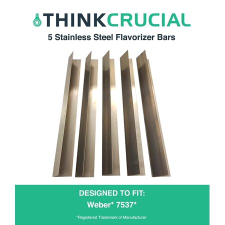 """5 Long Lasting Stainless Steel Flavorizer Bars, Fits Weber Grills, Part # 7537, 22.5"""" x 2.25"""" x 2.375"""", by By Think Crucial"""