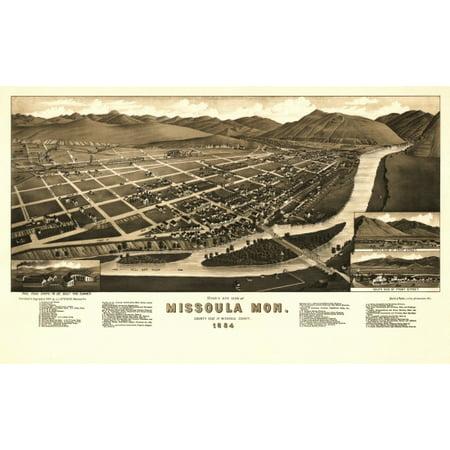 Vintage Map Of Missoula Montana 1884 Missoula County Poster Print