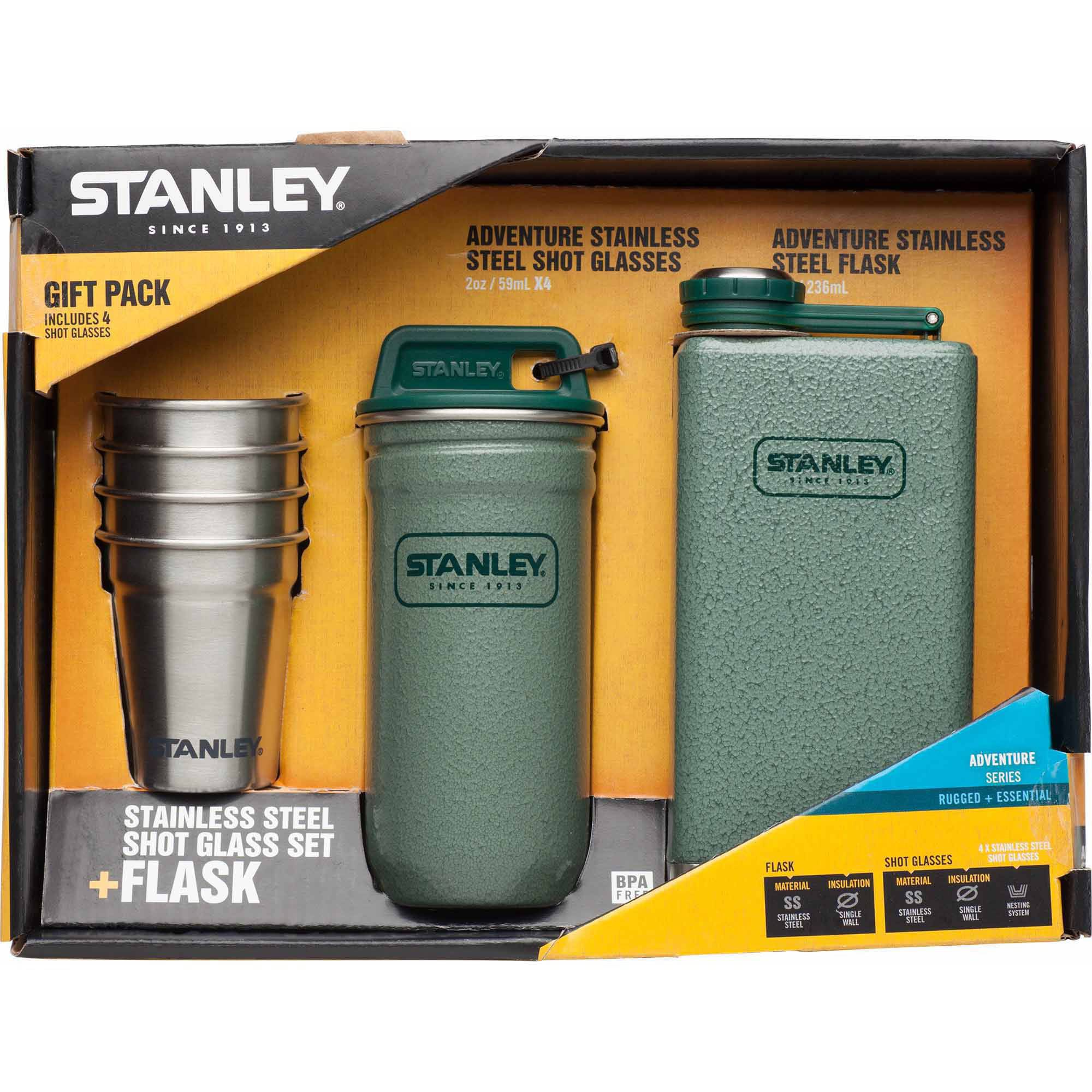 Stanley Adventure Steel Shots and Flask Gift Set, Hammertone Green