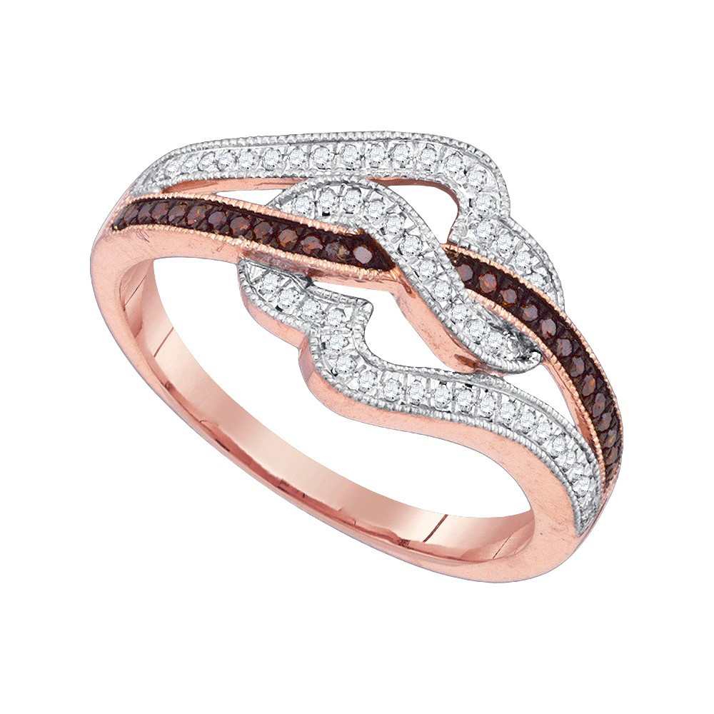 10k Pink Rose Gold Red Colored Diamond Womens Unique Cocktail Heart Band Ring 1 4 Cttw by GND