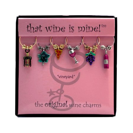 - Wine Things 6-Piece Vineyard Wine Charms, Painted