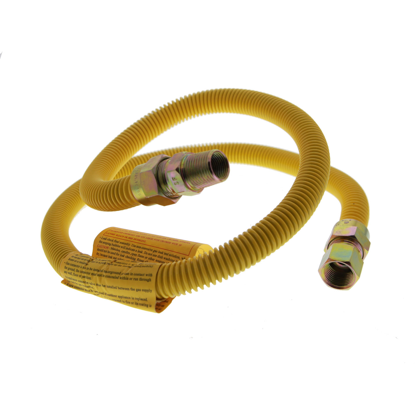 4 ft Yellow Coated SS 5/8-Inch Gas Range Connector
