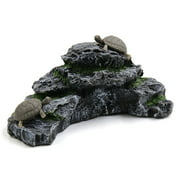 Unique BargainsResin Aquatic Turtles Climbing Rock Ramp Aquarium Fish Tank Landscape Decor