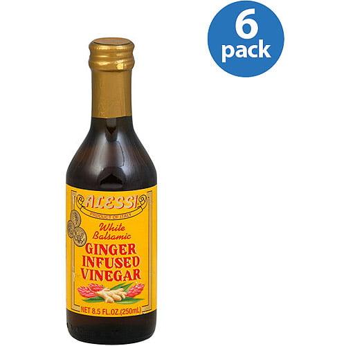 Alessi White Balsamic Ginger Infused Vinegar, 8.5 oz (Pack of 6)