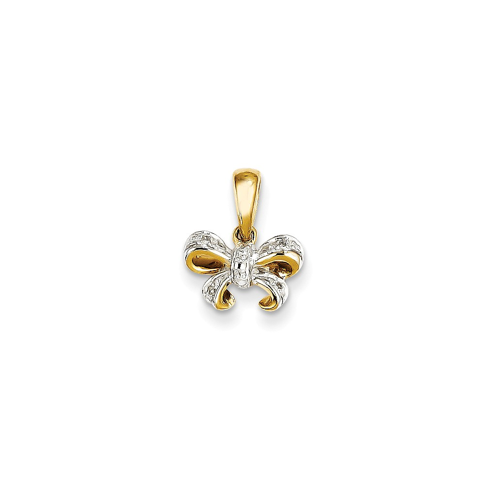 14k Yellow Gold Diamond Bow Pendant
