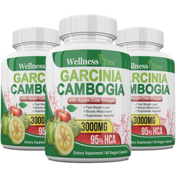 Garcinia Cambogia Extract & Apple Cider Vinegar- 3000mg Max Strength, Best Weight Loss Supplement & Carb Blocker (3 Pack)