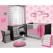 Bacati - Ikat Leopard/Dots/Damask 4-Piece Crib Bedding Set with 2 Muslin Swadling Blankets, Pink/Grey