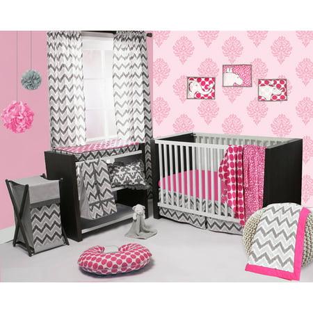 Bacati - Ikat Leopard/Dots/Damask 4-Piece Crib Bedding Set with 2 Muslin Swadling Blankets, Pink/Grey