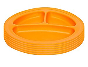 Green Eats Divided Feeding Plate, 6 Count, Orange by Green Eats