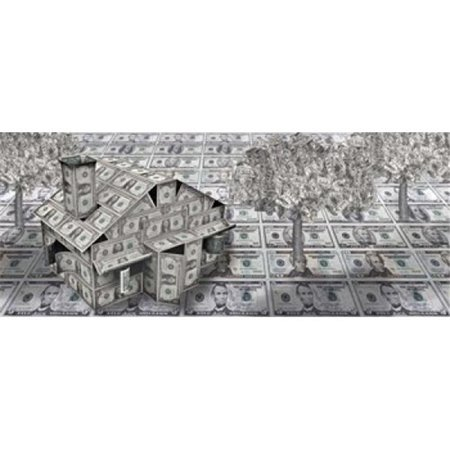 Panoramic Images Ppi133856l Dollar House With Money Tree Poster Print By Panoramic Images   36 X 12