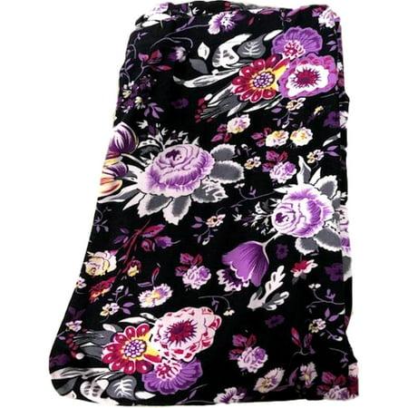 Floral Printed Leggings  Purple