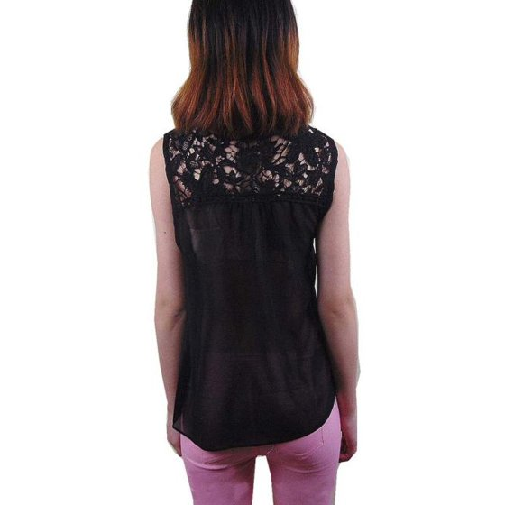 4c6cb817235 Women Summer Lace Splice Chiffon Vest Top Sleeveless Blouse Tank ...