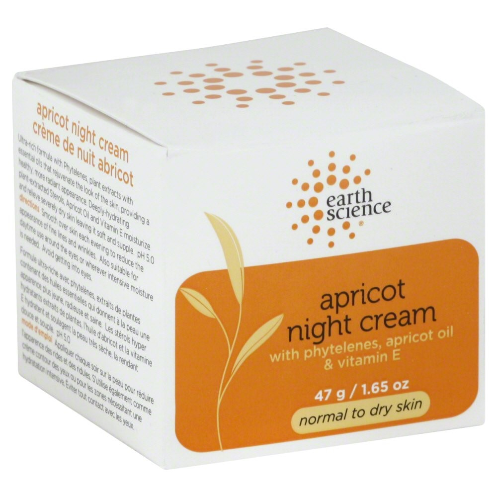 Earth Science Apricot Intensive Night Cream wiith Phytelenes, Apricot Oil, and Vitamin E, 1.65 Oz