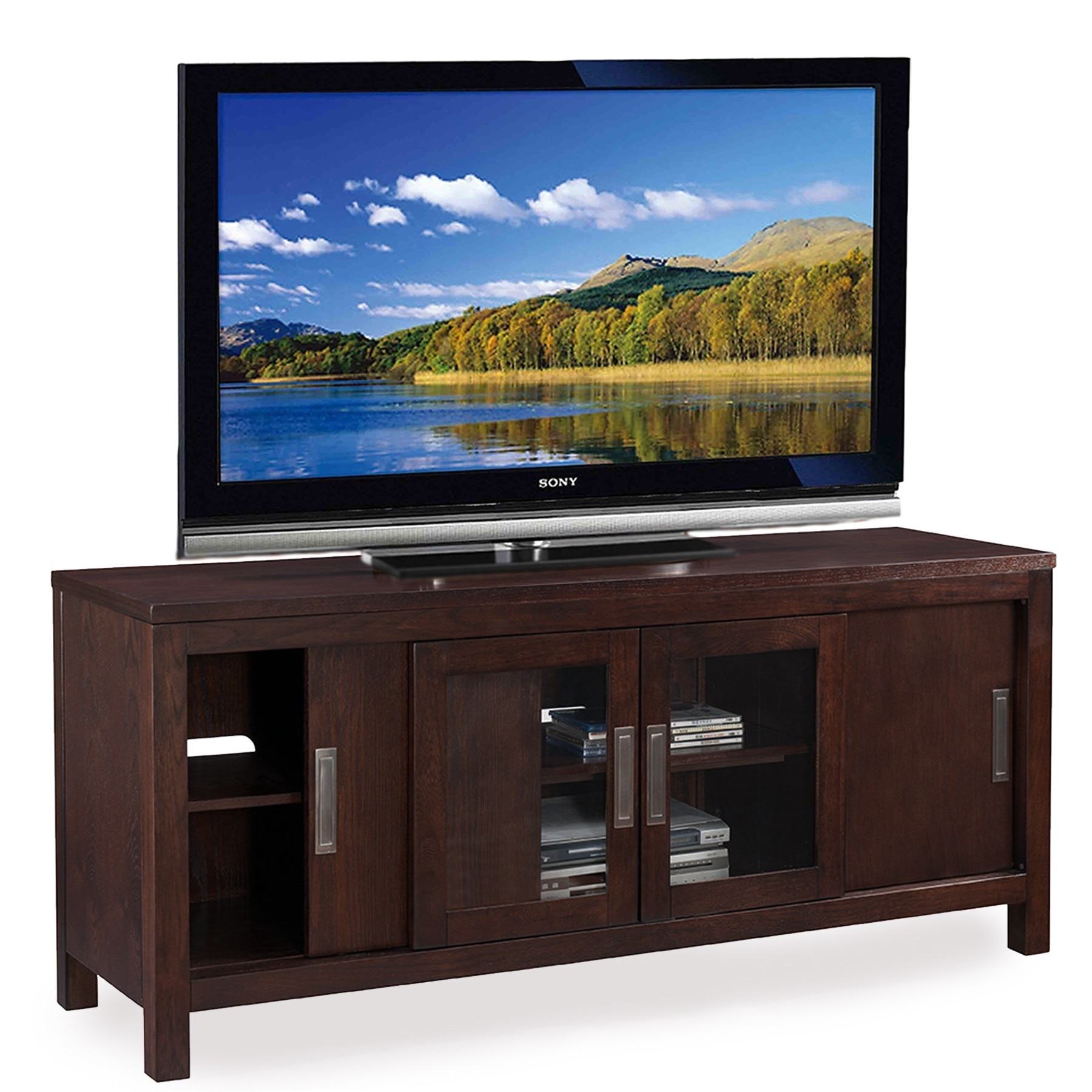 Chocolate 60-Inch Sliding Door TV Console