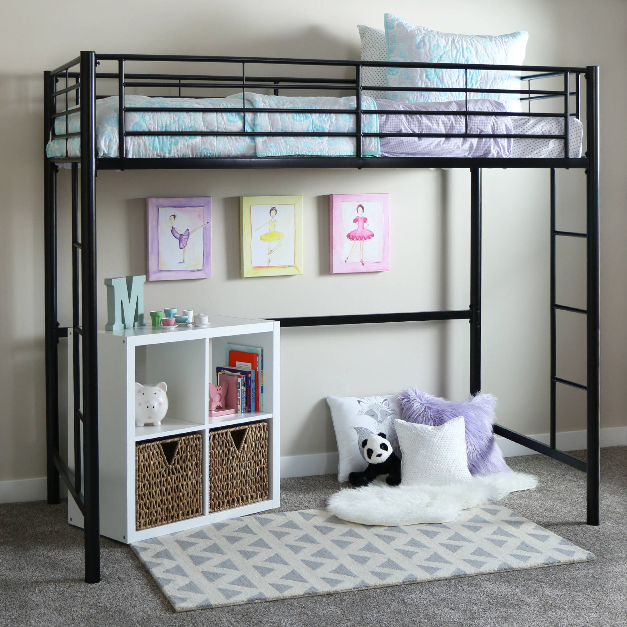Twin Metal Loft Bed - Black (Multiple Colors Available)