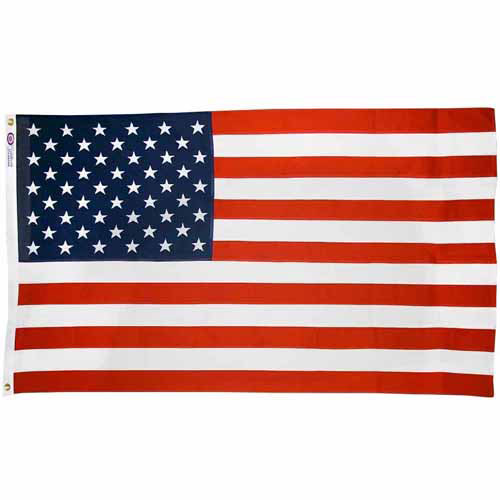 American Flag, 3' x 5', Reliance Cotton with Sewn Stripes, Dyed Stars and Brass Grommets, Model# 1120