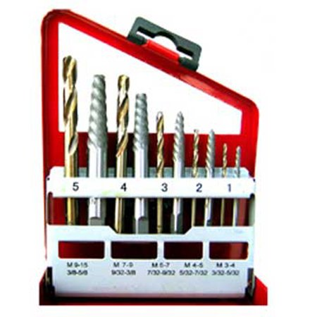 10 Piece Cobalt Screw/Bolt Extractor Set & Drill - Cobalt Alloy Bit