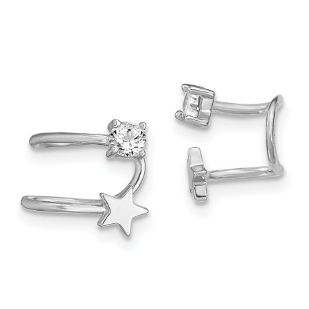 925 Sterling Silver Cubic Zirconia Cz Star Earrings Cuff Celestial Non Pierced Gifts For Women For