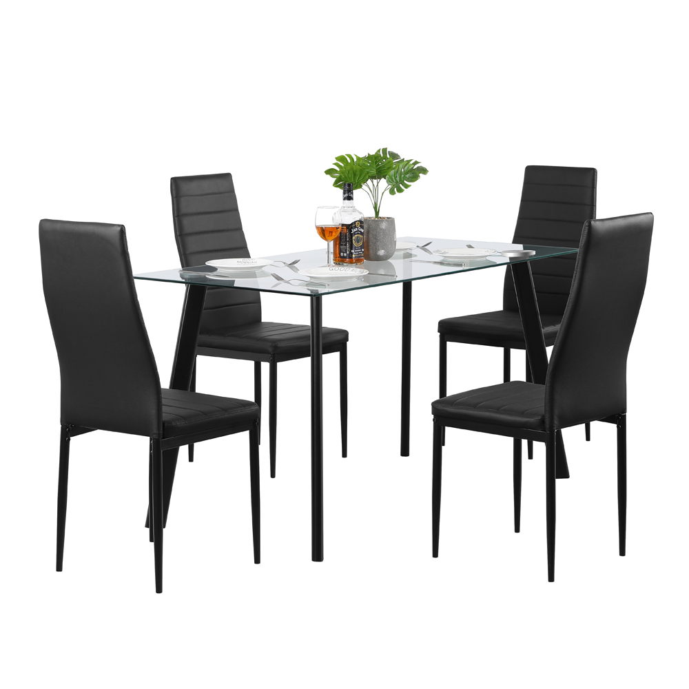 5 Pieces Dining Table Set Tempered Glass Dining Table And Chairs Set For 4 Person Upgraded Sturdy Iron Frame Dining Room Table Set With 4 Pvc Leather Chairs For Small Dining Room