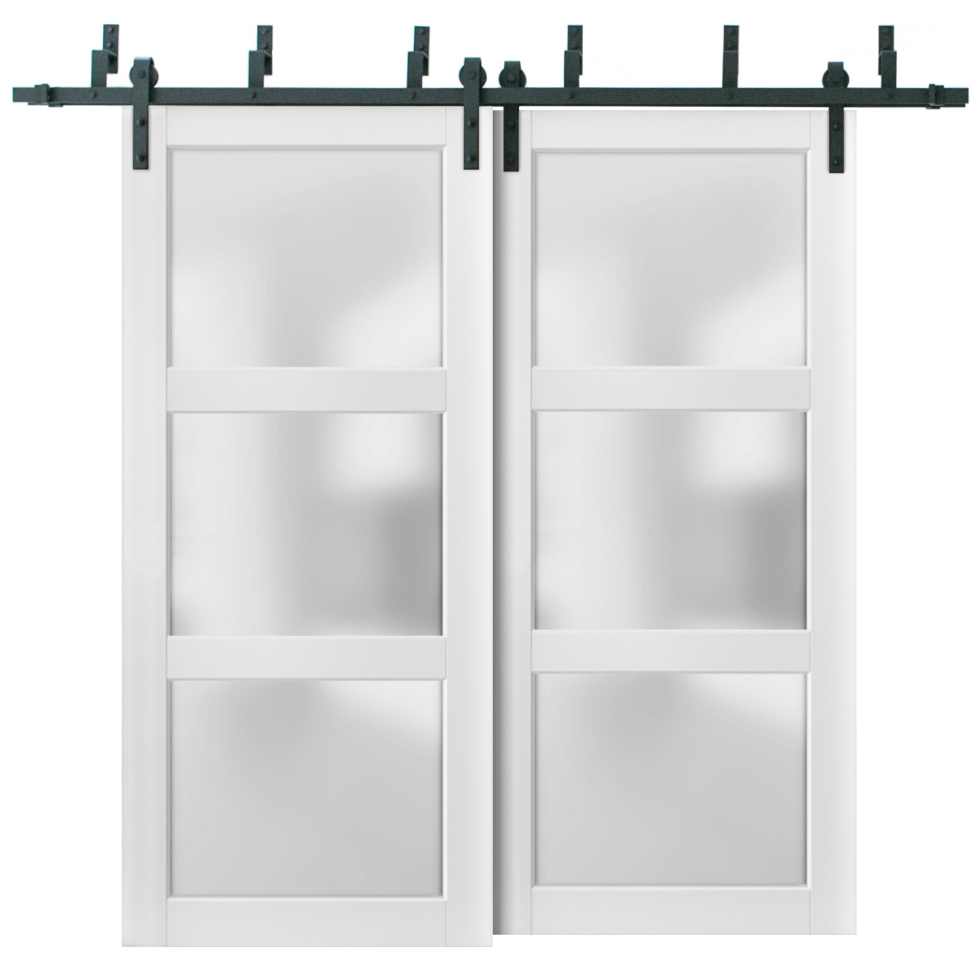 Picture of: Sliding Closet Frosted Glass 3 Lites Barn Bypass Doors 48 X 80 Inches Lucia 2552 Matte White Sturdy Top Mount 6 6ft Rails Hardware Set Wood Solid Bedroom Wardrobe Doors Walmart Com Walmart Com