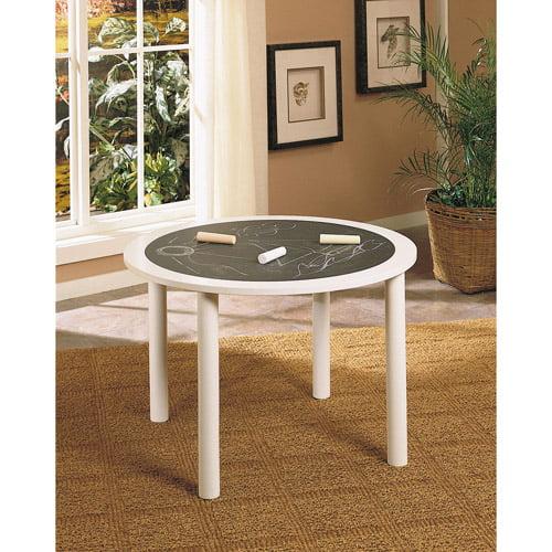 White Round Chalkboard Table