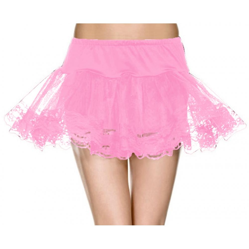 Net Double Layer Lace Trim Petticoat Adult Costume Accessory Black - One Size
