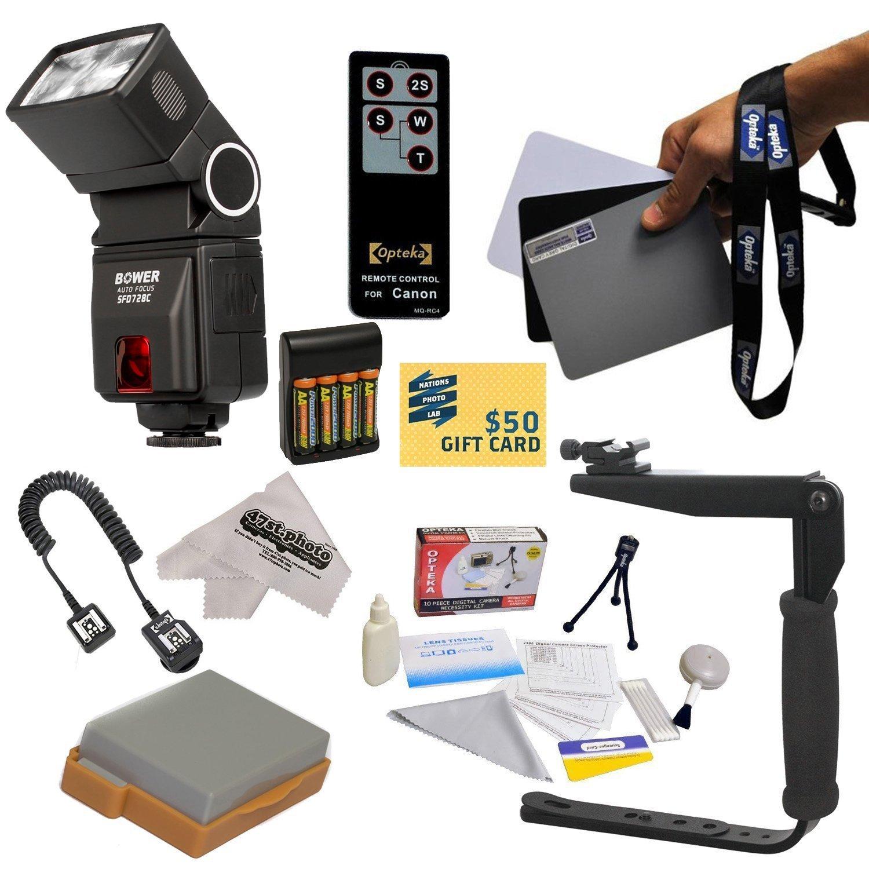 Opteka Bower SFD728 Autofocus TTL Flash Kit for The Canon EOS-Rebel T2i T3i T4i T5i 550D 600D 650D 700D Kiss X4 X5 X6 X6i X7i D