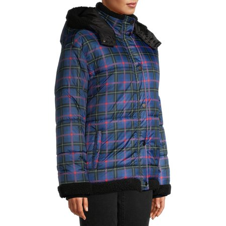 EV1 from Ellen DeGeneres Women's Plaid Puffer Jacket