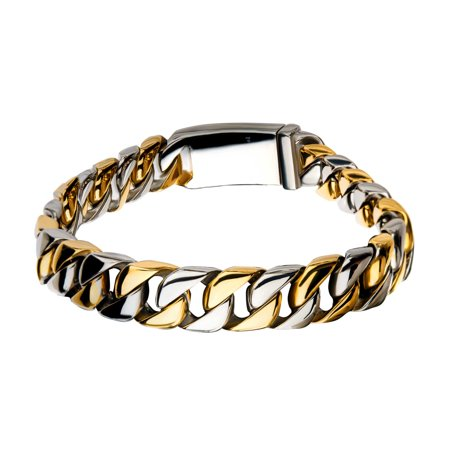 Gold Curb Chain Bracelet (Inox Mens Stainless Steel Gold IP Curb Chain Bracelet 8 3/4 inch long)