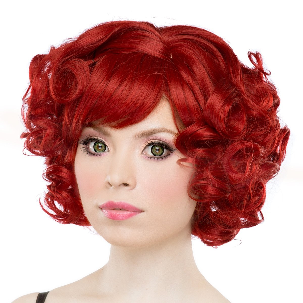 Rockstar Quality Curly Crimson Red Short Bob Costume Wig Women s ... 3280a351a