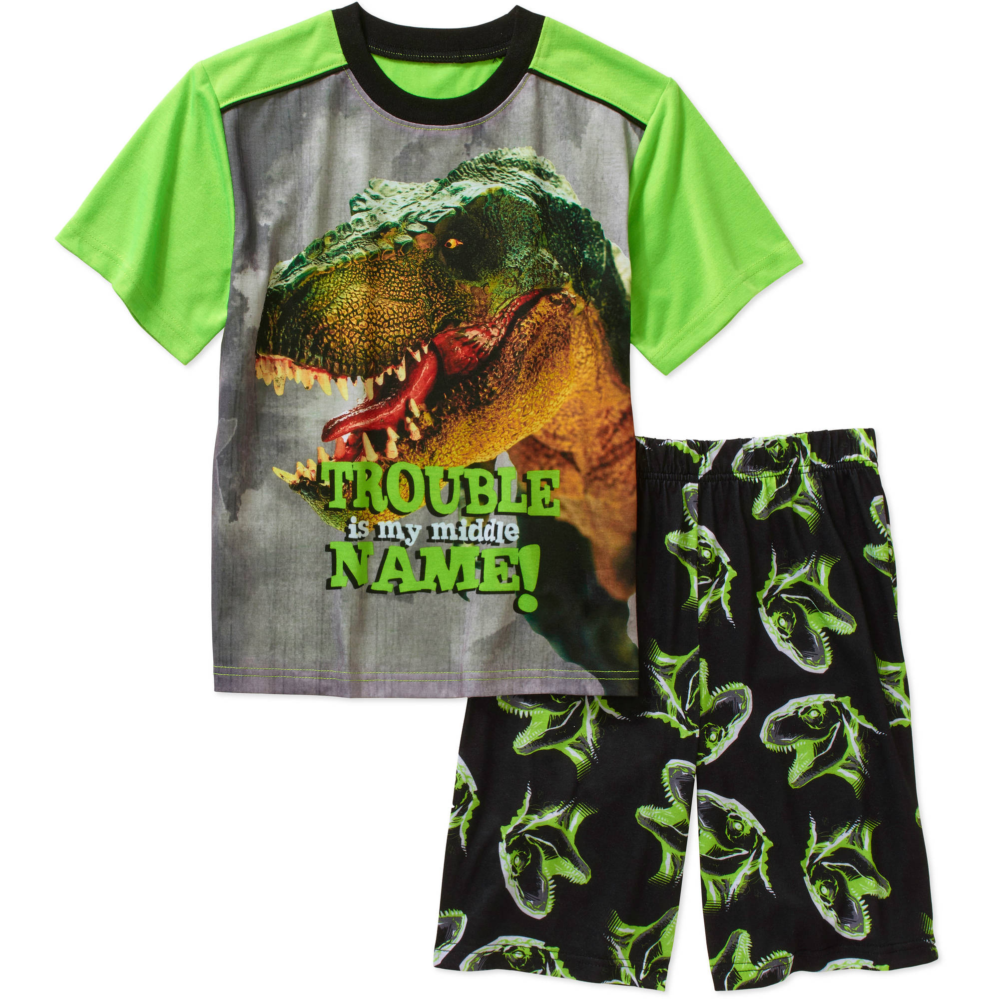 Faded Glory Boys' Short Sleeve Sleep Shirt and Short Pajama 2-Piece Set