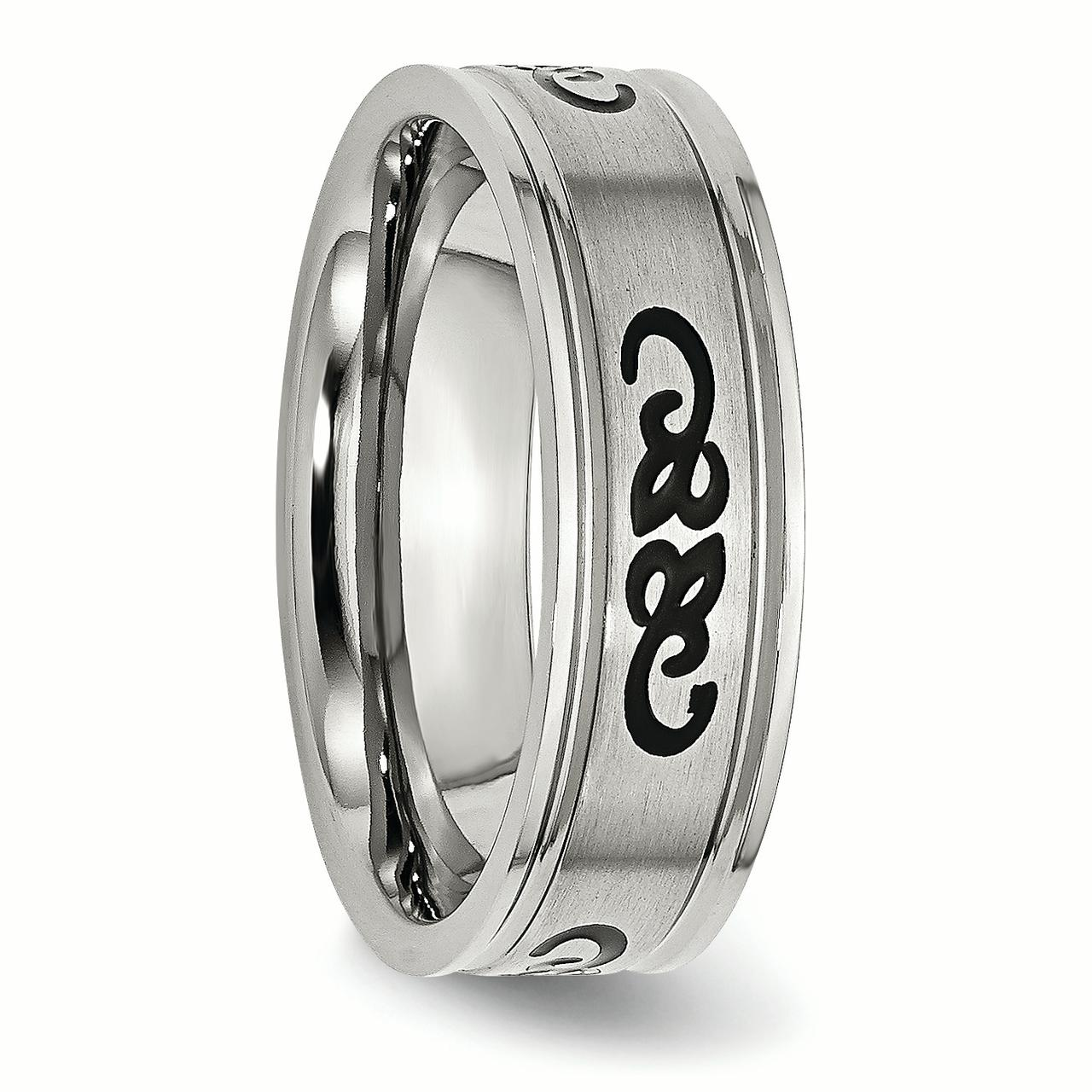 Stainless Steel Black Rubber 7mm Ridged Edge Brushed Wedding Ring Band Size 11.50 Designed Fashion Jewelry Gifts For Women For Her - image 4 de 6