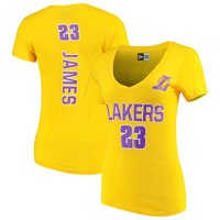 Women's New Era LeBron James Gold Los Angeles Lakers Baby Jersey Name & Number V-Neck T-Shirt