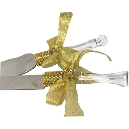 - Cake Knife and Server Set Gold Rhinestones Bow Design For Wedding Sweet 16 Birthday All Occasion