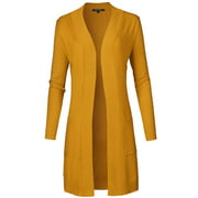 FashionOutfit Women's Solid Soft Stretch Long-line Long Sleeve Open Front Knit Cardigan