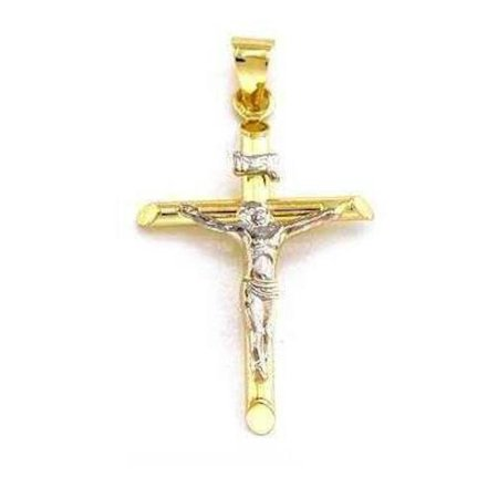 14K Gold Crucifix Charm INRI Jesus Cross Faith Jewelry 26mm