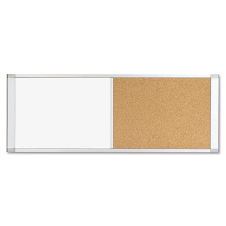 MasterVision Combo Cubicle Workstation Dry Erase/Cork Board, 48x18, Silver Frame