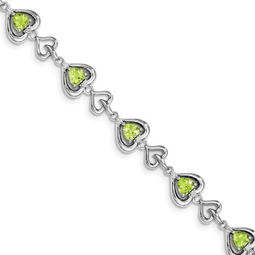 Sterling Silver Diamond & Heart Link Peridot Bracelet. Carat Wt- 5.32ct by Jewelrypot