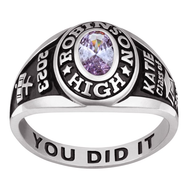 Freestyle Class Rings - Personalized Women's Sterling Silver Classic Petite  Oval Birthstone Class Ring - Walmart.com - Walmart.com