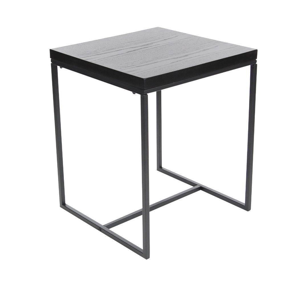Gray Metal Wood Accent Table by Benzara