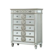 Mirror Accented Chest with 6 Sunburst Motif Storage Drawers, Silver