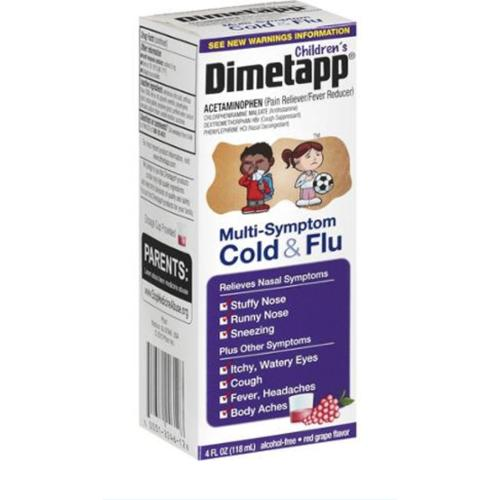 Dimetapp Children's Multi-Symptom Cold & Flu Red Grape Liquid, 4 oz (Pack of 3)