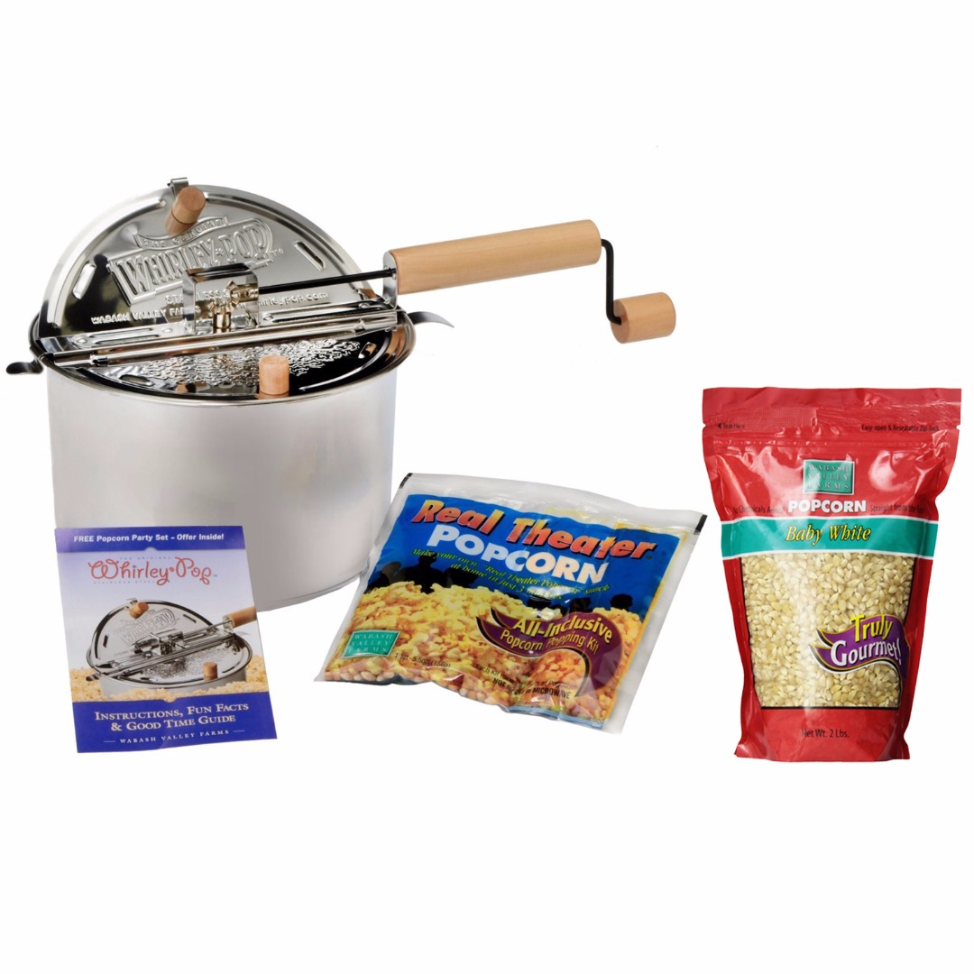 Wabash Valley Farms Whirley Pop Stovetop Popcorn Popper with Popping Kit & 2lbs Kernels