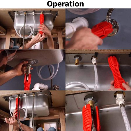 Gohope (8-in-1) Faucet and Sink Installer,Multi-Purpose Wrench Plumbing Tool for Toilet Bowl/Sink/Bathroom/Kitchen Plumbing and More (red) - image 2 of 8