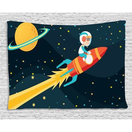 Rocker Theme (Kids Tapestry, Boy Riding Rocket in Space Fun Childish Journey Exploring Universe Theme, Wall Hanging for Bedroom Living Room Dorm Decor, 60W X 40L Inches, Dark Petrol Blue Yellow, by)