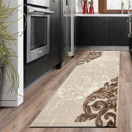 LR Home Infinity 2x7 Cream Beige Brown Swirl Feather Damask Distressed Indoor Contemporary Modern Runner Rug - 2 ft. 1 in. x 7 ft. 5 in.