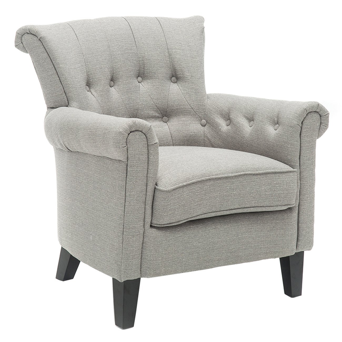 BONZY Accent Chair Tufted Flared Armchair Gray by BONZY