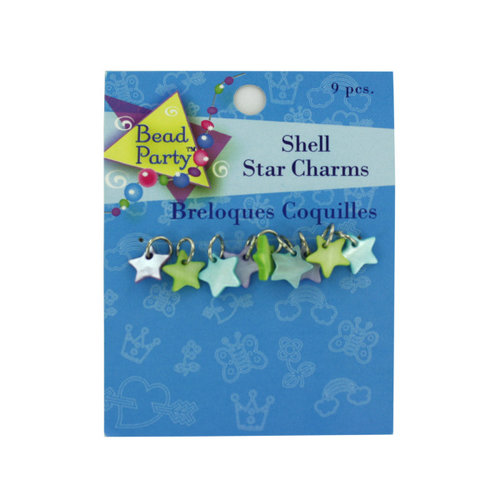Bulk Buys CN403 Pastel Shell Star Charms Pack of 9 Case of 144
