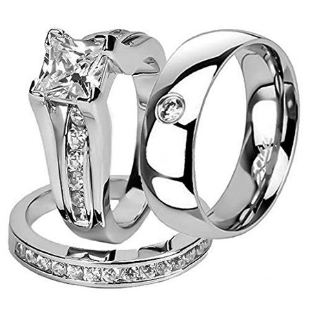Princess Antique Wedding Set Ring (Hers and His Stainless Steel Princess Wedding Ring Set and Zirconia Wedding Band Women's Size 10 Men's Size 11 )