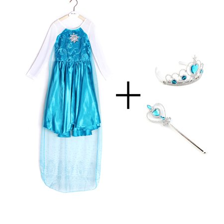 Princess Crown Costume (Girls Queen Princess Cosplay Costume Dress With Crown & Wand Christmas Party)